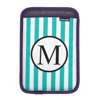 Simple Monogram with Aqua Vertical Stripes iPad Mini Sleeve
