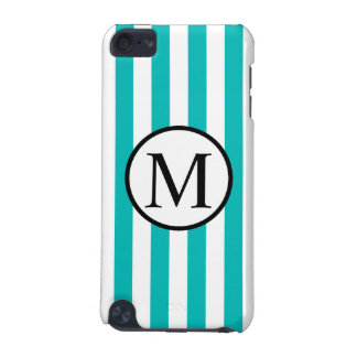 Simple Monogram with Aqua Vertical Stripes iPod Touch 5G Case