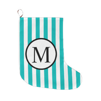 Simple Monogram with Aqua Vertical Stripes Large Christmas Stocking
