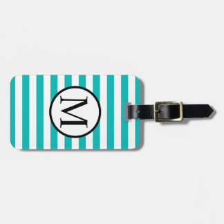 Simple Monogram with Aqua Vertical Stripes Luggage Tag
