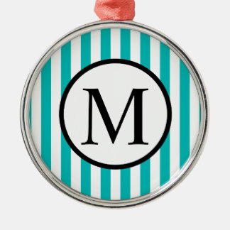 Simple Monogram with Aqua Vertical Stripes Metal Ornament