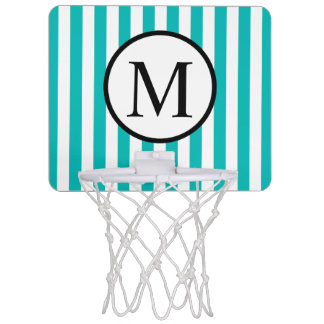 Simple Monogram with Aqua Vertical Stripes Mini Basketball Hoop