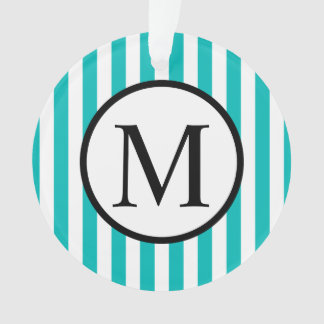Simple Monogram with Aqua Vertical Stripes Ornament