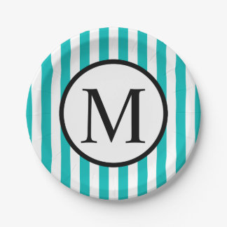 Simple Monogram with Aqua Vertical Stripes Paper Plate