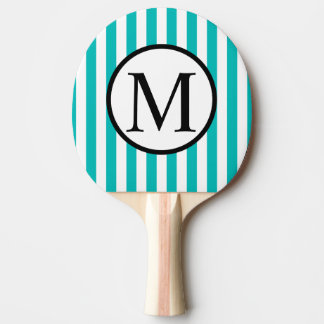Simple Monogram with Aqua Vertical Stripes Ping Pong Paddle