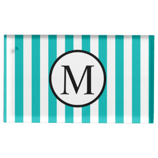 Simple Monogram with Aqua Vertical Stripes Place Card Holder