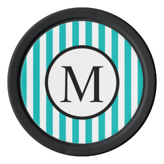 Simple Monogram with Aqua Vertical Stripes Poker Chips