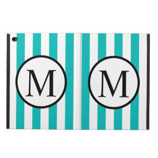 Simple Monogram with Aqua Vertical Stripes Powis iPad Air 2 Case