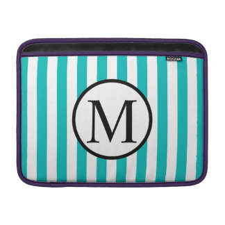 Simple Monogram with Aqua Vertical Stripes Sleeve For MacBook Air