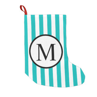 Simple Monogram with Aqua Vertical Stripes Small Christmas Stocking