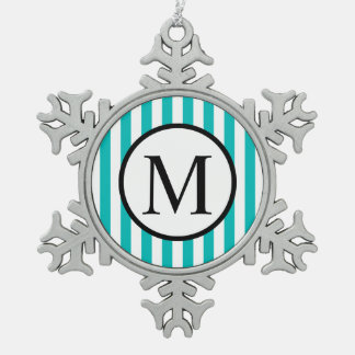 Simple Monogram with Aqua Vertical Stripes Snowflake Pewter Christmas Ornament