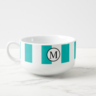 Simple Monogram with Aqua Vertical Stripes Soup Mug