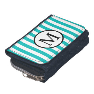 Simple Monogram with Aqua Vertical Stripes Wallet