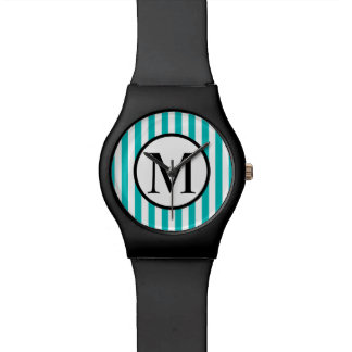 Simple Monogram with Aqua Vertical Stripes Watch