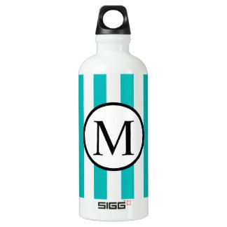 Simple Monogram with Aqua Vertical Stripes Water Bottle