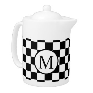 Simple Monogram with Black Checkerboard