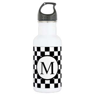 Simple Monogram with Black Checkerboard 532 Ml Water Bottle