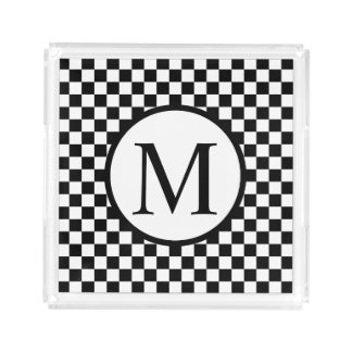 Simple Monogram with Black Checkerboard Acrylic Tray