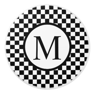Simple Monogram with Black Checkerboard Ceramic Knob