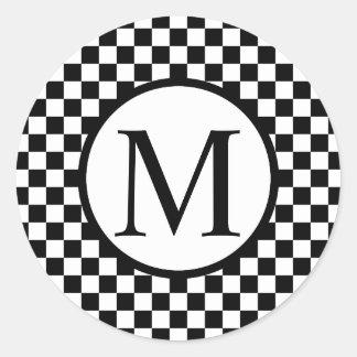 Simple Monogram with Black Checkerboard Classic Round Sticker