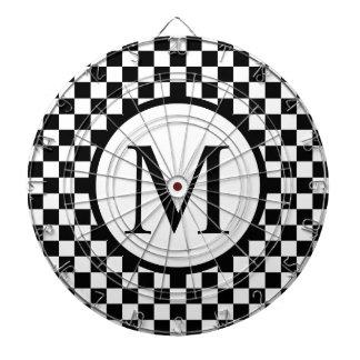Simple Monogram with Black Checkerboard Dartboard