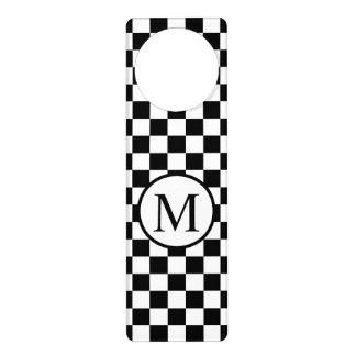 Simple Monogram with Black Checkerboard Door Hanger