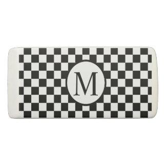 Simple Monogram with Black Checkerboard Eraser