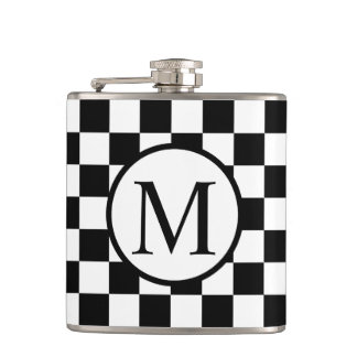 Simple Monogram with Black Checkerboard Hip Flask
