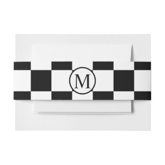 Simple Monogram with Black Checkerboard Invitation Belly Band