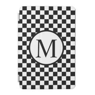 Simple Monogram with Black Checkerboard iPad Mini Cover