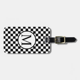 Simple Monogram with Black Checkerboard Luggage Tag