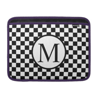 Simple Monogram with Black Checkerboard MacBook Sleeve