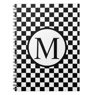 Simple Monogram with Black Checkerboard Notebooks