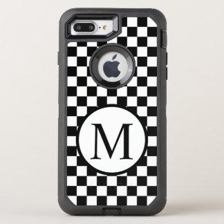 Simple Monogram with Black Checkerboard OtterBox Defender iPhone 8 Plus/7 Plus Case