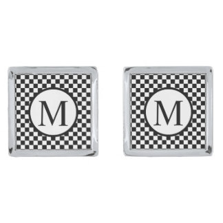 Simple Monogram with Black Checkerboard Silver Finish Cuff Links