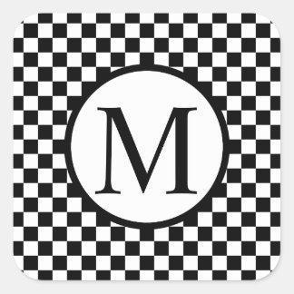 Simple Monogram with Black Checkerboard Square Sticker