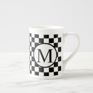Simple Monogram with Black Checkerboard Tea Cup