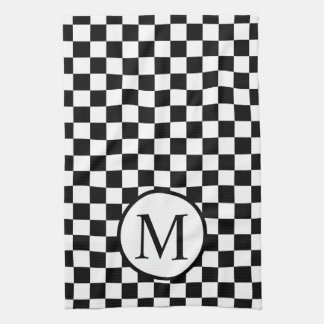 Simple Monogram with Black Checkerboard Tea Towel