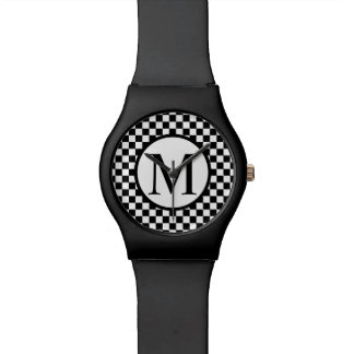Simple Monogram with Black Checkerboard Watch