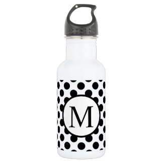 Simple Monogram with Black Polka Dots 532 Ml Water Bottle