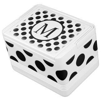 Simple Monogram with Black Polka Dots Cooler