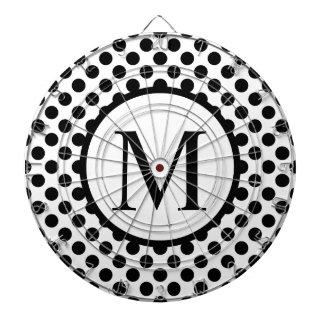 Simple Monogram with Black Polka Dots Dartboard
