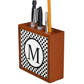 Simple Monogram with Black Polka Dots Desk Organiser