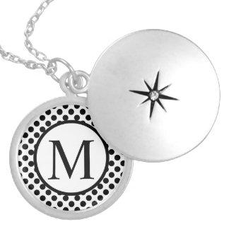 Simple Monogram with Black Polka Dots Locket Necklace