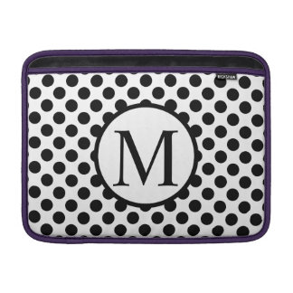 Simple Monogram with Black Polka Dots MacBook Sleeve