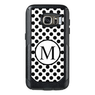 Simple Monogram with Black Polka Dots OtterBox Samsung Galaxy S7 Case