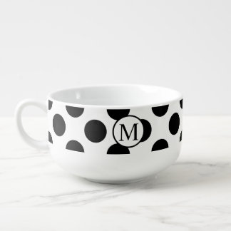 Simple Monogram with Black Polka Dots Soup Mug