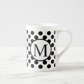 Simple Monogram with Black Polka Dots Tea Cup