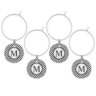 Simple Monogram with Black Polka Dots Wine Charm