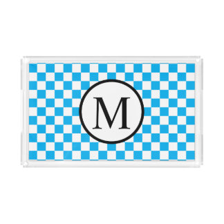 Simple Monogram with Blue Checkerboard Acrylic Tray